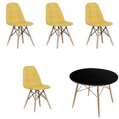 Kit Mesa 4 Cadeira Design Botone Eames Eiffel DAR Ray Pes Madeira Salas Florida Amarelo Preto Fratini