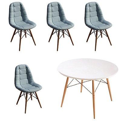 Kit Mesa 4 Cadeira Design Botone Eames Eiffel DAR Ray Pes Madeira Salas Florida Azul Claro Branco Fratini