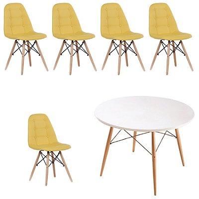 Kit Mesa 5 Cadeira Design Fratini Botone Eames Eiffel DAR Ray Pes Madeira Natural Salas Florida Amarelo Branco