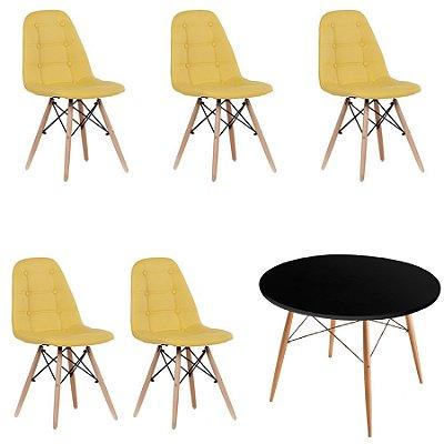 Kit Mesa 5 Cadeira Design Botone Eames Eiffel DAR Ray Pes Madeira Salas Florida Amarelo Preto Fratini