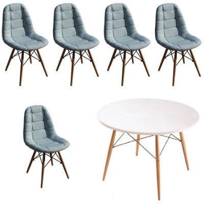 Kit Mesa 5 Cadeira Design Fratini Botone Eames Eiffel DAR Ray Pes Madeira Natural Salas Florida Azul Claro Branco