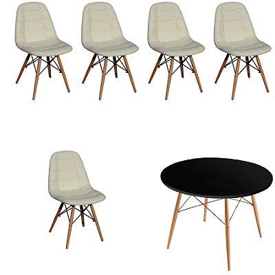 Kit Mesa 5 Cadeira Design Fratini Botone Eames Eiffel DAR Ray Pes Madeira Natural Salas Florida Bege Preto