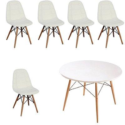 Kit Mesa 5 Cadeira Design Fratini Botone Eames Eiffel DAR Ray Pes Madeira Natural Salas Florida Branco