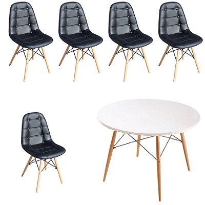 Kit Mesa 5 Cadeira Design Fratini Botone Eames Eiffel DAR Ray Pes Madeira Natural Salas Florida Preto Branco