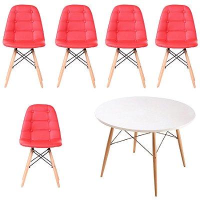 Kit Mesa 5 Cadeira Design Botone Eames Eiffel DAR Ray Pes Madeira Salas Florida Vermelho Branco Fratini