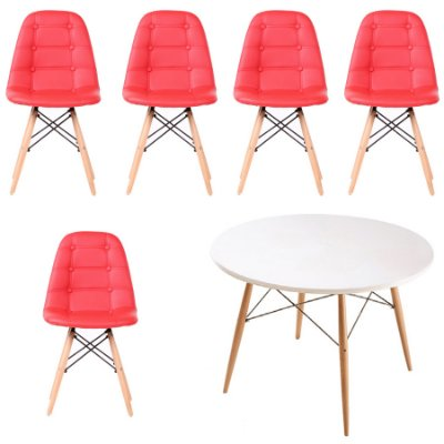 Kit Mesa 5 Cadeira Design Fratini Botone Eames Eiffel DAR Ray Pes Madeira Natural Salas Florida Vermelho Branco
