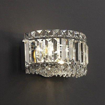 Arandela Mantra Co Bes Cristal K9 Translúcido Alumínio Cromado 13x20cm 2x Lâmpadas E14 40W 110v 220v Bivolt 30040 Parede Muro Banheiro Sala