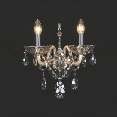 Arandela Mantra Co Clássica Apolo Cristal K9 Conhaque 38x30cm 2 E14 30171 Parede Muro Banheiro Sala