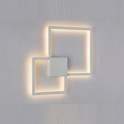 Arandela Mantra Co Fuoco LED Metal Branco Fosco Microtexturizado 35x35cm 1x LED 3000K 20W 30507 Parede Muro Banheiro Sala
