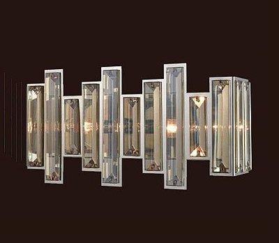Arandela Mantra Co Milano Conhaque Alumínio Cromado Cristal K9 20x43cm 2 E14 30451 Parede Muro Banheiro Sala