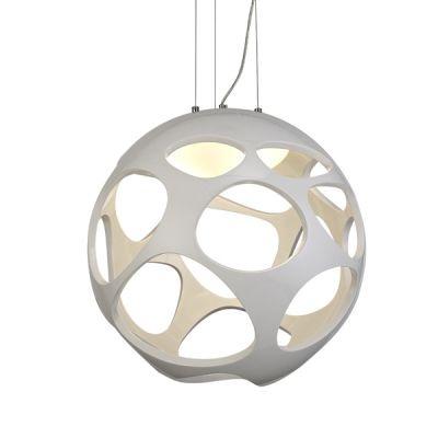 Pendente Mantra Co Organica Esfera Alumínio Cromado Polímero Branco 55x55cm 3 E27 20W 110v 220v Bivolt 5140 Sala de Jantar Quarto e Cozinha