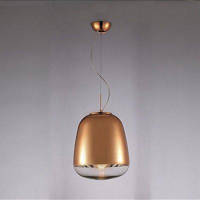 Pendente Mantra Co Zorah Pendurado Alumínio Vidro Bronze 55x33cm 1 E27 40W 110v 220v Bivolt 30256 Sala de Jantar Quarto e Cozinha