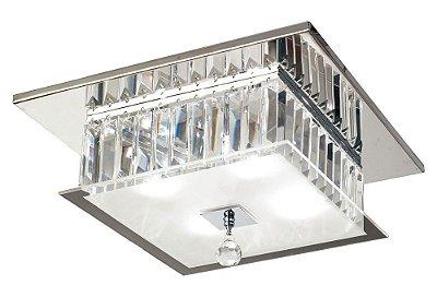 Plafon Mantra Co Torre Quadrado Cromado Cristal K9 Translúcido 17x35cm 4 G9 Halopin 25W 110v 220v Bivolt 2668 Sobrepor Sala Quarto e Cozinha
