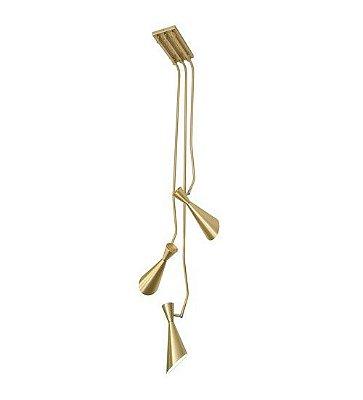 Arandela Munclair Zig Zag Cônica 3 Hastes Metal Dourado Fosco 110v 220v Bivolt 15x150 E-27 2351-3 Quartos Salas e Banheiros