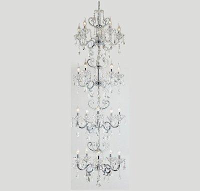 Lustre Tupiara Candelabro Maria THEREZA Cristal K9 20 BRACOS 04 ANDARES Ø65 x180 Pé direito duplo BORGHESE 5820cr  Salas, Entradas e Hall