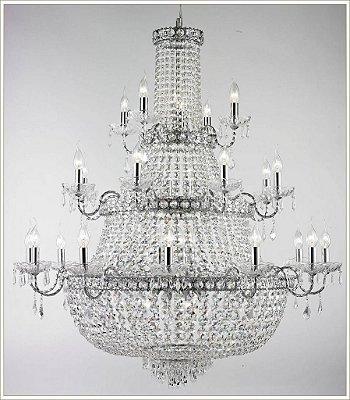 Lustre Tupiara Imperial Vintage Metal Cromado Cristal K9 Translúcido 24 Lâmpadas 1,20x1,15m E-14 4524-CR s Salas, Entradas e Hall