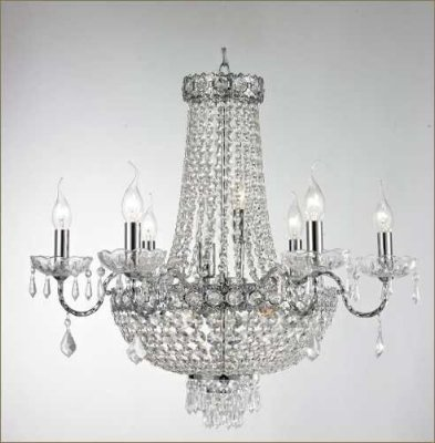 Lustre Tupiara Imperial Vintage Metal Cromado Cristal K9 Translúcido 6 Lâmpadas 65x80 E-14 4506-CRCT s Salas, Entradas e Hall