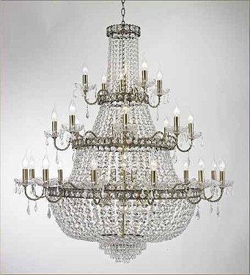 Lustre Tupiara Imperial Vintage Ouro Velho Cristal K9 Translúcido 24 Lâmpadas 1,20x1,15m E-14 4524-OVCH s  Salas, Entradas e Hall