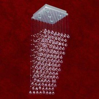 Lustre Quadrado Cascata Inox Cromado Cristal K9 Translúcido 4 Lamp. 80cm Triest Mr Iluminação Gu10 2227-4-ls Salas e Quartos
