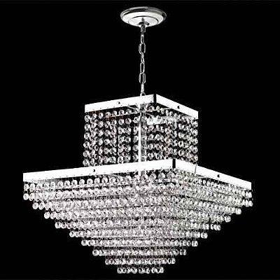 Lustre Quadrado Inox Cromado Cristal K9 Asfour Translúcido 6 Lamp. 40x40 Sonata Mr Iluminação E-14 2411-6-cr Quartos e Hall