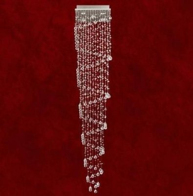 Lustre Quadrado Milano Escada Cristal K9 Asfour Translúcido 5 Lamp. 33x33 Trieste Mr Iluminação Gu10 2281-5 Saguão e Quartos
