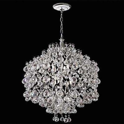 Lustre Redondo Colmeia Cromado Cristal K9 Translúcido Asfour 8 Lamp. Ø56 Mr Iluminação E-14 2397-56-Is Quartos e Hall