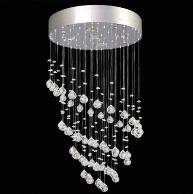 Lustre Redondo Inox Cromado Espiral Cristal K9 Translúcido 5 Lamp. 40x60 Zangchan Mr Iluminação Gu10 2405-d40 Salas e Hall