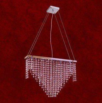 Pendente Retangular Cromado Cristal K9 Asfour 5 Lamp. 60x37 Naira Mr Iluminação G9 2211-pd Quartos e Hall