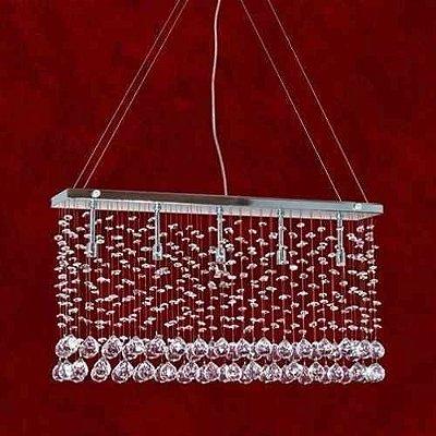 Pendente Retangular Reno Cristal K9 Asfour Translúcido 5 Lamp. 60x10 Triest Mr Iluminação G9 2238-5-pd Quartos e Hall