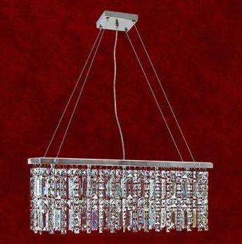 Pendente Retangular Wegas Cromado Cristal K9 Translúcido 5 Lamp. 60x20 Clara Mr Iluminação G9 2220-5-pd Saguão e Hall