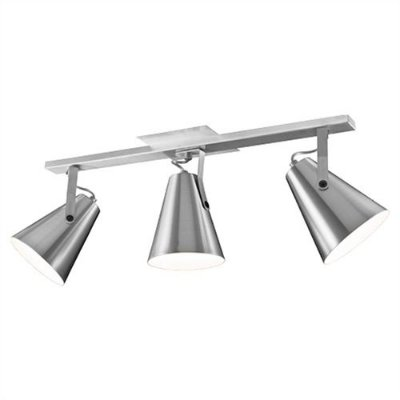 Spot Munclair Trilho Mix Metal 03 Cúpulas Cone Metal Polido 110v 220v Bivolt 70cm E-27 0494-3 Sala Quarto e Cozinha