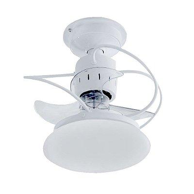 Ventilador Treviso Ind Lustre Atenas Branco com Luminaria Controle Remoto Sala Quarto Cozinha  TRV23