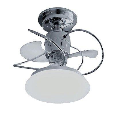 Ventilador Treviso Ind Lustre Atenas Cromado com Luminaria Led 18w Quarto Sala Cozinha Loja  TRV22