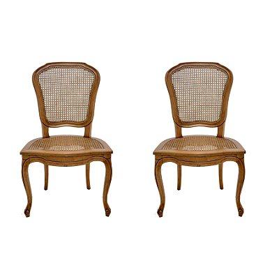 2x Cadeira Trendhouse Madeira Natural Jequitibá Mel Envelecido Assento Encosto Palha Sextavada Natual Clarie