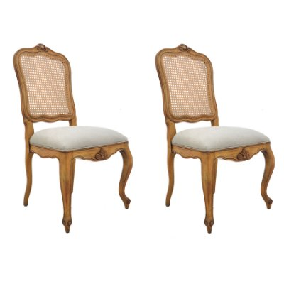 2x Poltrona Trendhouse Cadeira Luiz Vx Francês Madeira Natural Jequitibá Escuro Assento Linho Estofado Encosto Palha LISBOA