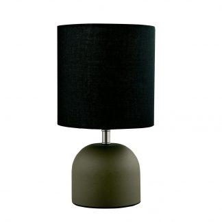 Abajur Quality Iluminação QAB1066-PT Alumínio Redondo Esfera Cupula  TECIDO PRETO 1XE27 40W 16X26CM Sala Quarto Casal Mesas