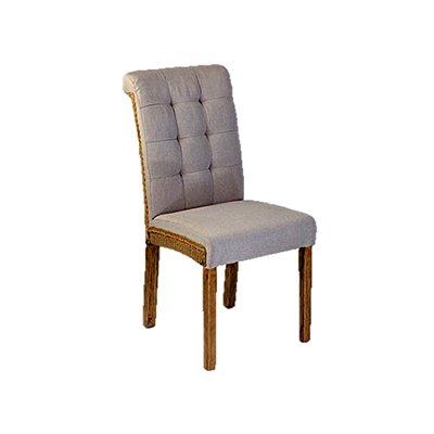 Cadeira Trendhouse Classica Madeira Natural Carvalho Encosto Assento Tecido Linhão Botões Valência