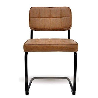 Cadeira Trendhouse Fixa Encosto Assento Couro Caramelo Retro Vintage Industrial BLEND