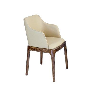 Cadeira Trendhouse Madeira Natural Carvalho Americano Castanho Escuro Assento Encosto Estofado Couro Creme Oslo