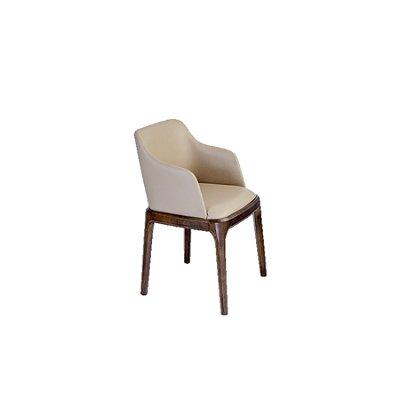 Cadeira Trendhouse Madeira Natural Carvalho Americano Castanho Escuro Assento Encosto Estofado Couro Pu Fendi Oslo