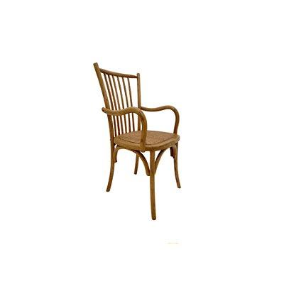 Cadeira Trendhouse Madeira Natural Carvalho Americano Claro Braços Assento Palha Trançada Ranch