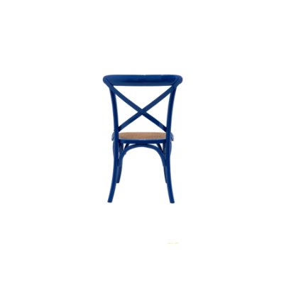 Cadeira Trendhouse Madeira Natural Cor Azul Royal Assento Palha Trançada Acabamento Laca