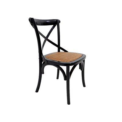 Cadeira Trendhouse Madeira Natural Cor Preto Assento Palha Trançada Acabamento Laca