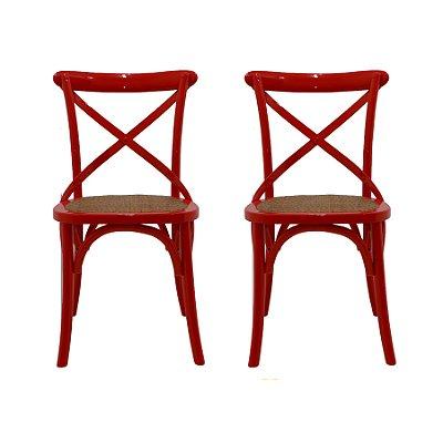 Cadeira Trendhouse Madeira Natural Cor Vermelha Assento Palha Trançada Acabamento Laca