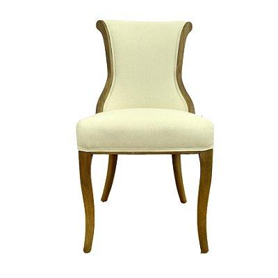 Cadeira Trendhouse Madeira Natural Olmo Castanho Claro Assento Encosto Estofado Tecido Linhao Bege MALAGA