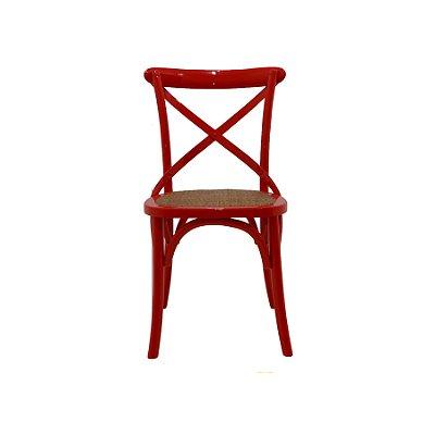 Kit 2 Cadeira Trendhouse Madeira Natural Cor Vermelha Assento Palha Trançada Acabamento Laca