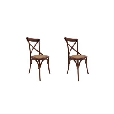 Kit 2 Cadeira Trendhouses Madeira Natural Carvalho Cor Escuro Assento Palha Trançada