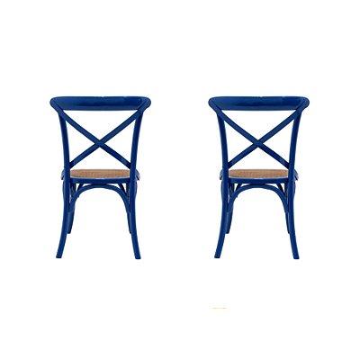 Kit 2 Cadeira Trendhouses Madeira Natural Cor Azul Royal Assento Palha Trançada Acabamento Laca