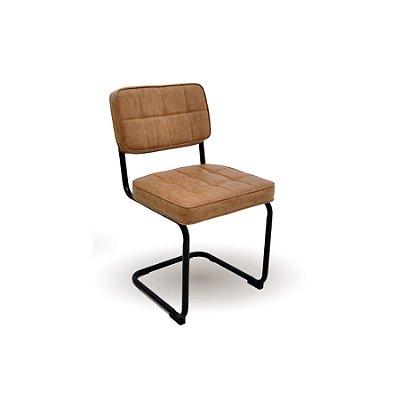 Kit 2x Cadeira Trendhouse Fixa Encosto Assento Couro Caramelo Retro Vintage Industrial BLEND