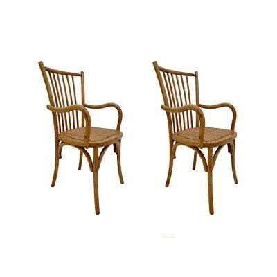 Kit 2x Cadeira Trendhouse Madeira Natural Carvalho Americano Claro Braços Assento Palha Trançada Ranch